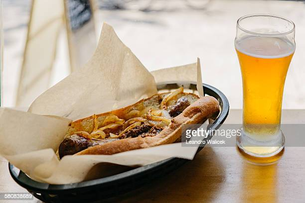 Grilled Sausage and Beer