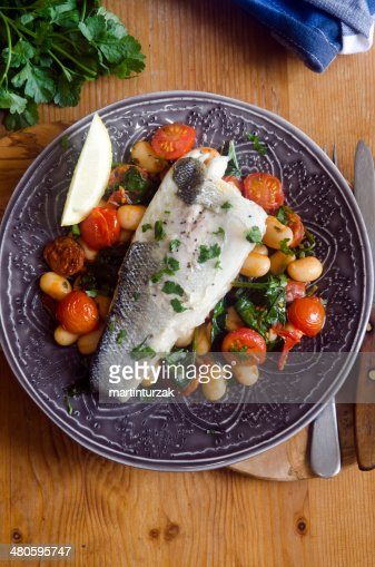 Grilled sea bass : Stock Photo