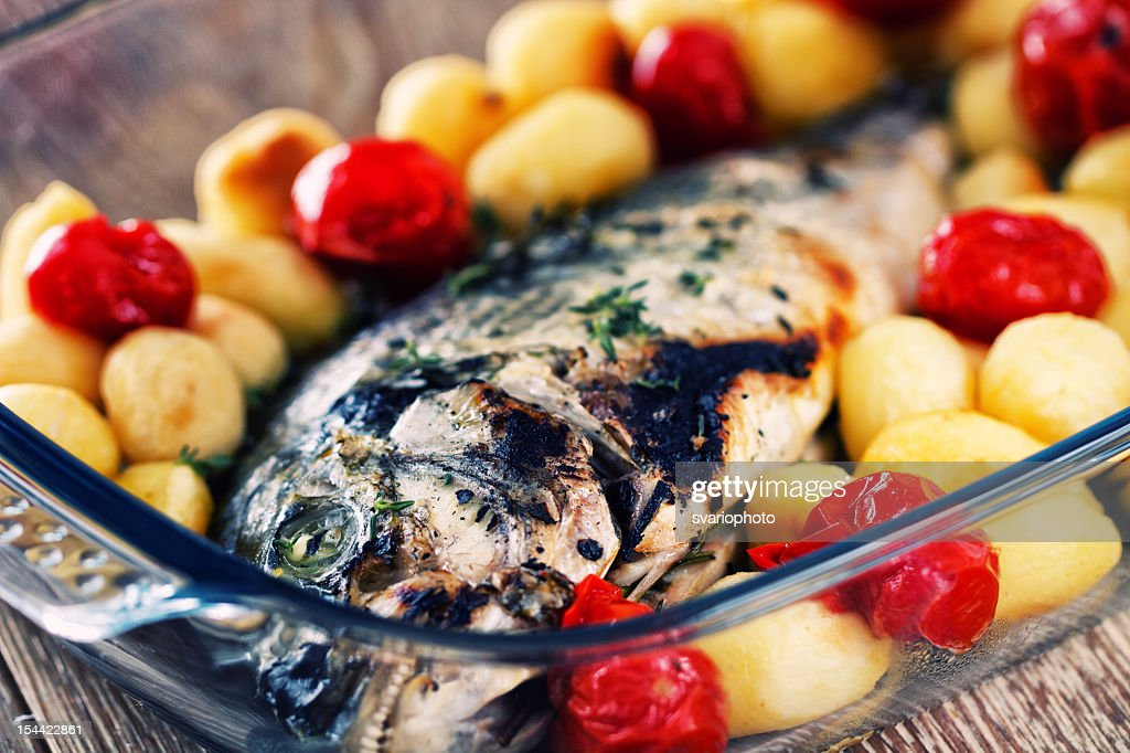 Grilled sea bream : Stock Photo