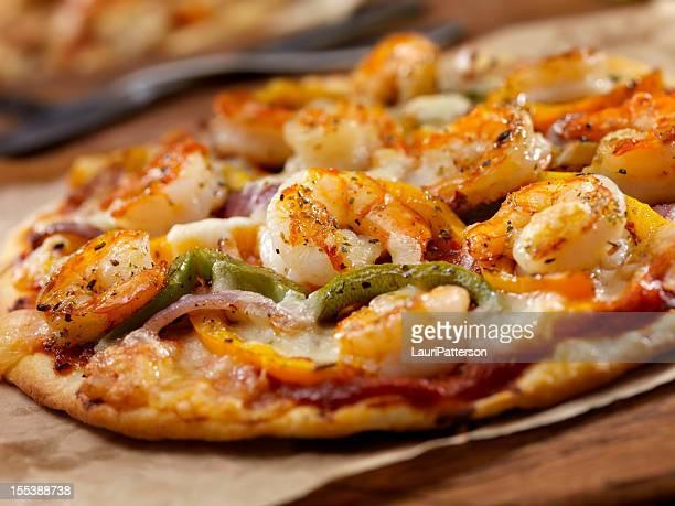 Gegrillte Garnelen und Gebratene Paprika Pizza