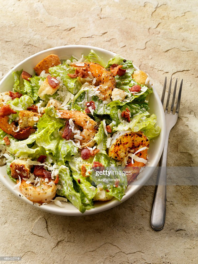 Grilled Shrimp Caesar Salad : Stock Photo