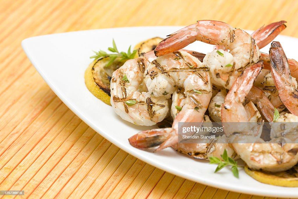 Grilled shrimp : Stock Photo