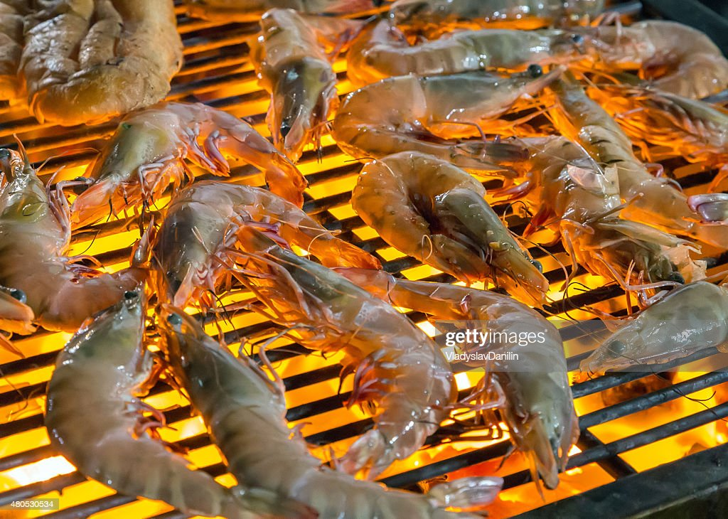Grilled shrimp seafood. : Stock Photo