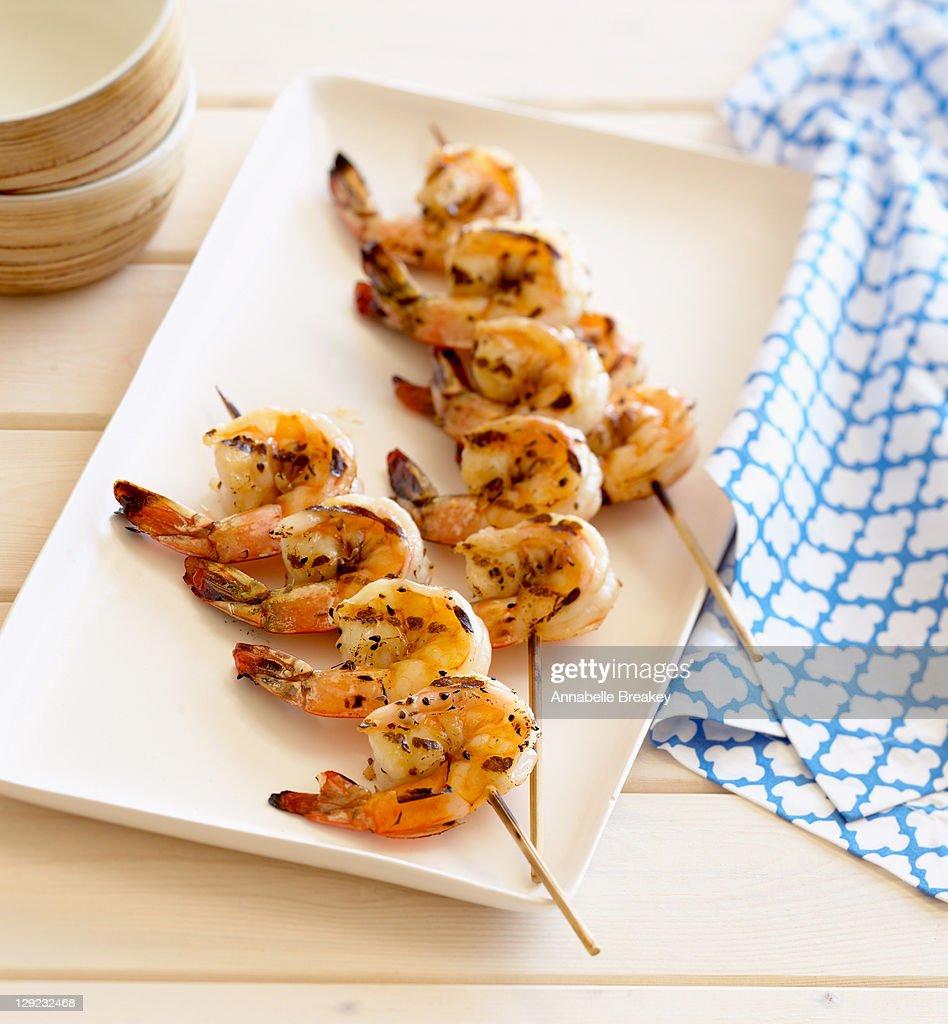 Grilled Shrimp Skewers : Stock Photo