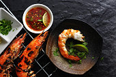 Grilled shrimp with spicy sauce