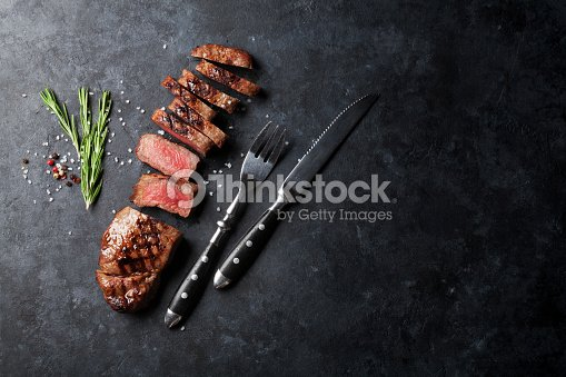 Grilled sliced beef steak : Stock Photo