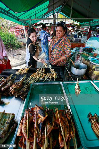 grilled squid and other seafood, Kempot, Cambodia