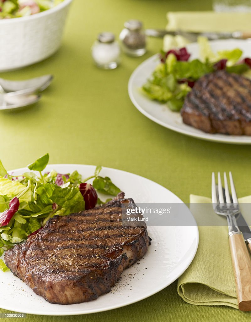 Grilled Steak with Salad : Stock Photo
