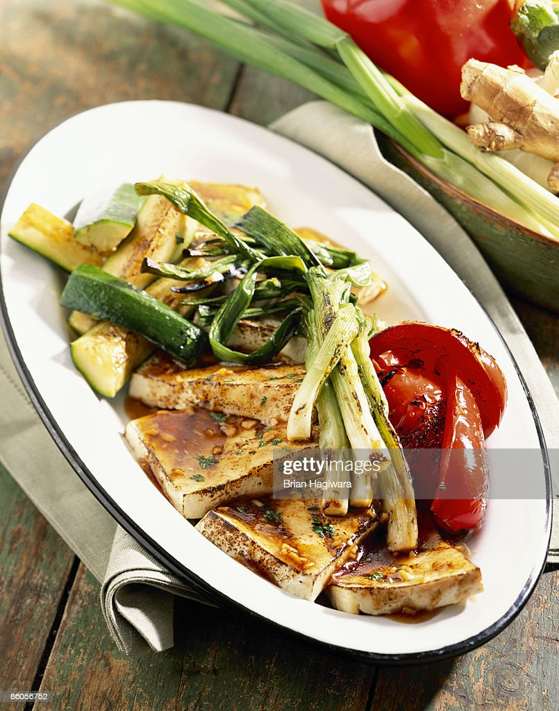 Grilled tofu and vegetables : Stock Photo