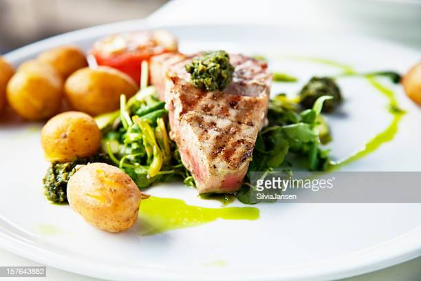 grilled tuna on herbs