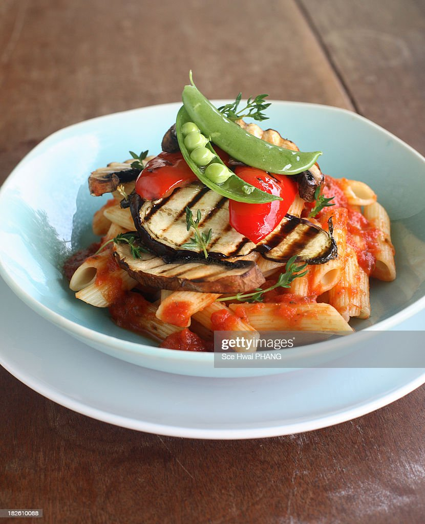 Grilled vegetables penne pasta : Stock Photo