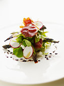 Grilled Yakima asparagus with chevre, prosciutto and 12 year balsamic