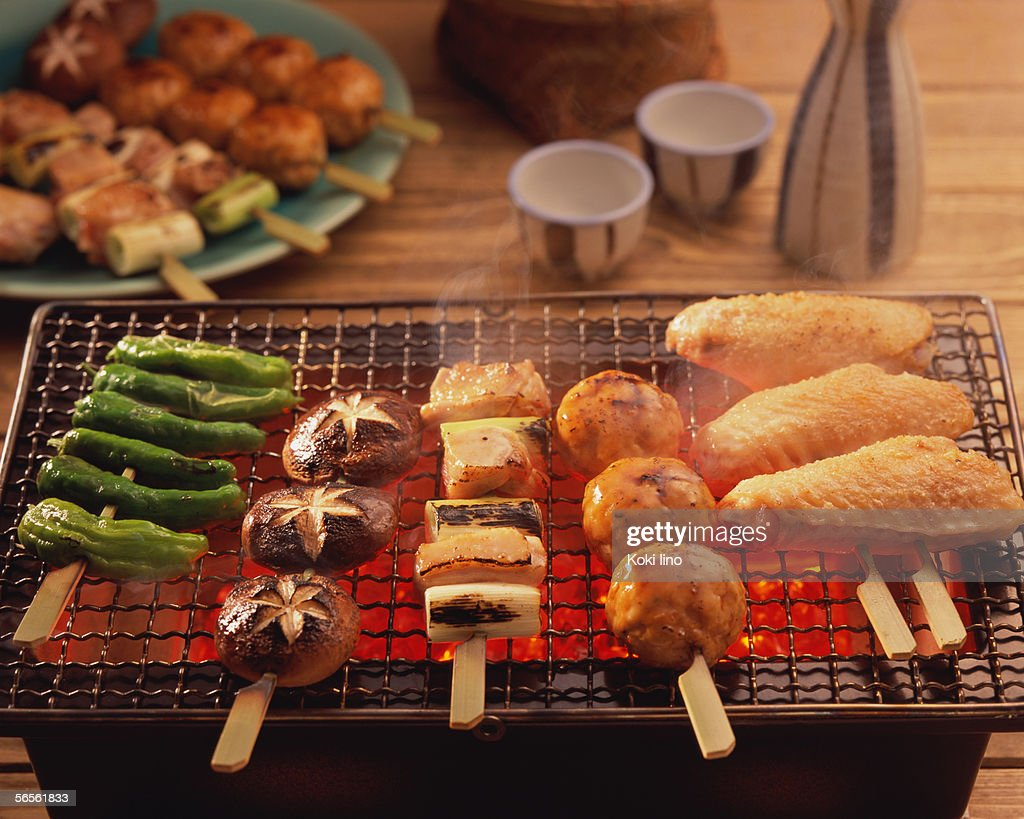 Grilled yakitori over charcoal