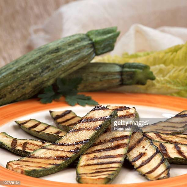 Grilled zucchini on plate