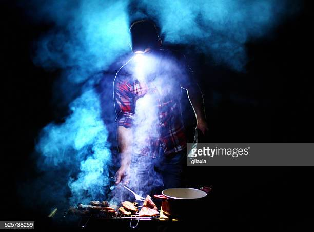 Grilling at night.