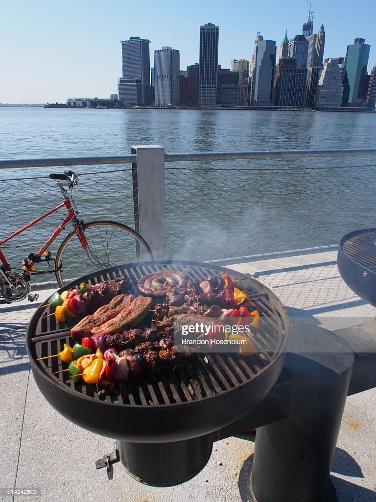 Grilling with a view of the New York skyline