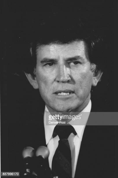 A grim faced Gary Hart announced to the nation that he has dropped out of the for the Democratic nomination for president Credit The Denver Post