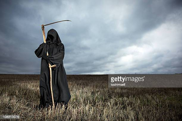 Grim Reaper standing in a field with stormy clouds overhead
