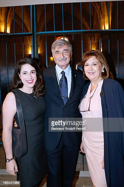Grimaldi Forum's President Jean Pastorelli with his wife and their daughter attend 'A Triple Tour' Francois Pinault Collection Exhibition opening at...