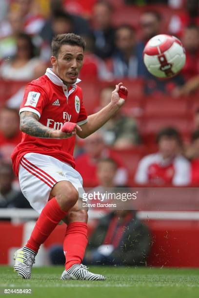Grimaldo of SL Benfica in action during the Emirates Cup match between RB Leipzig and SL Benfica at Emirates Stadium on July 30 2017 in London England