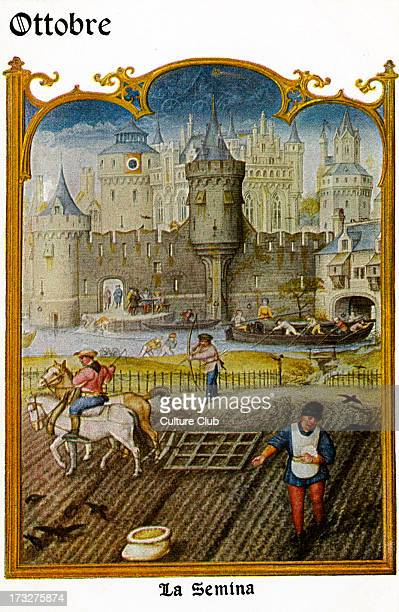 Grimani Breviary October Scene entitled 'La Semia' Flemish illuminated manuscript produced in Ghent and Bruges c 15151520 Artist included Simon...