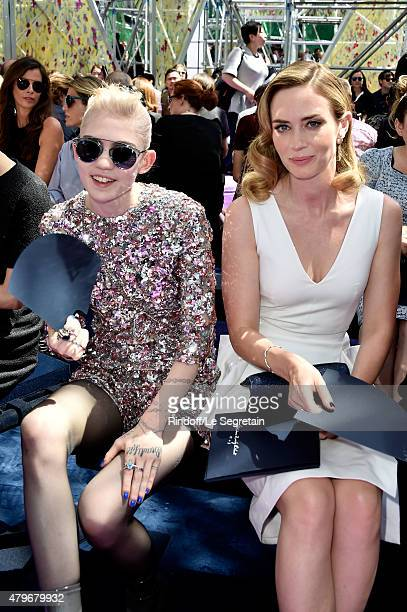 Grimes and actress Emily Blunt attend the Christian Dior show as part of Paris Fashion Week Haute Couture Fall/Winter 2015/2016 on July 6 2015 in...