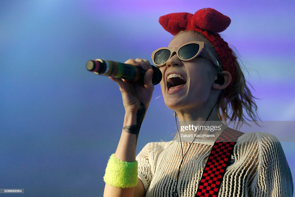 Grimes performs live on stage at St Jerome's Laneway Festival on February 7, 2016 in Sydney, Australia.