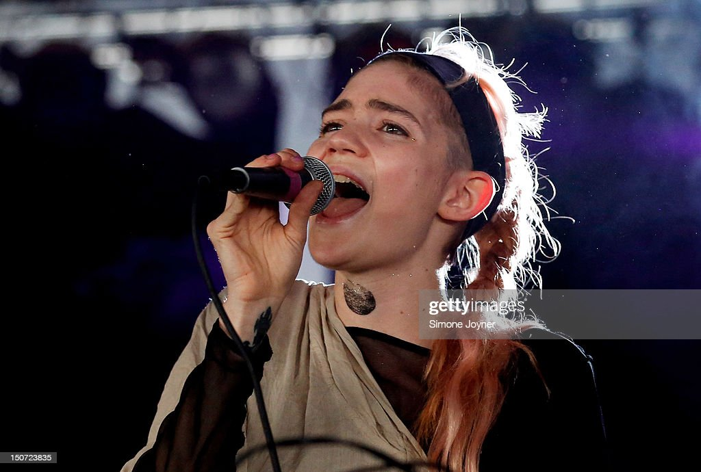 Grimes performs live on the Dance Stage on Day Two during the Reading Festival 2012 at Richfield Avenue on August 25, 2012 in Reading, England.