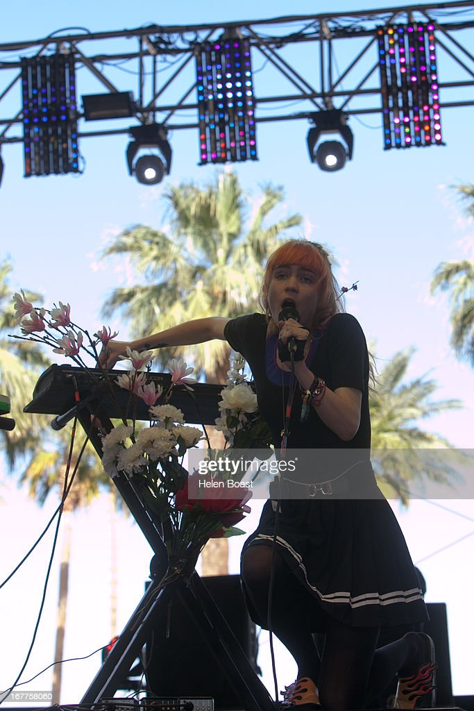 Grimes performs on stage at 2013 Coachella Music Festival on April 21, 2013 in Indio, California.
