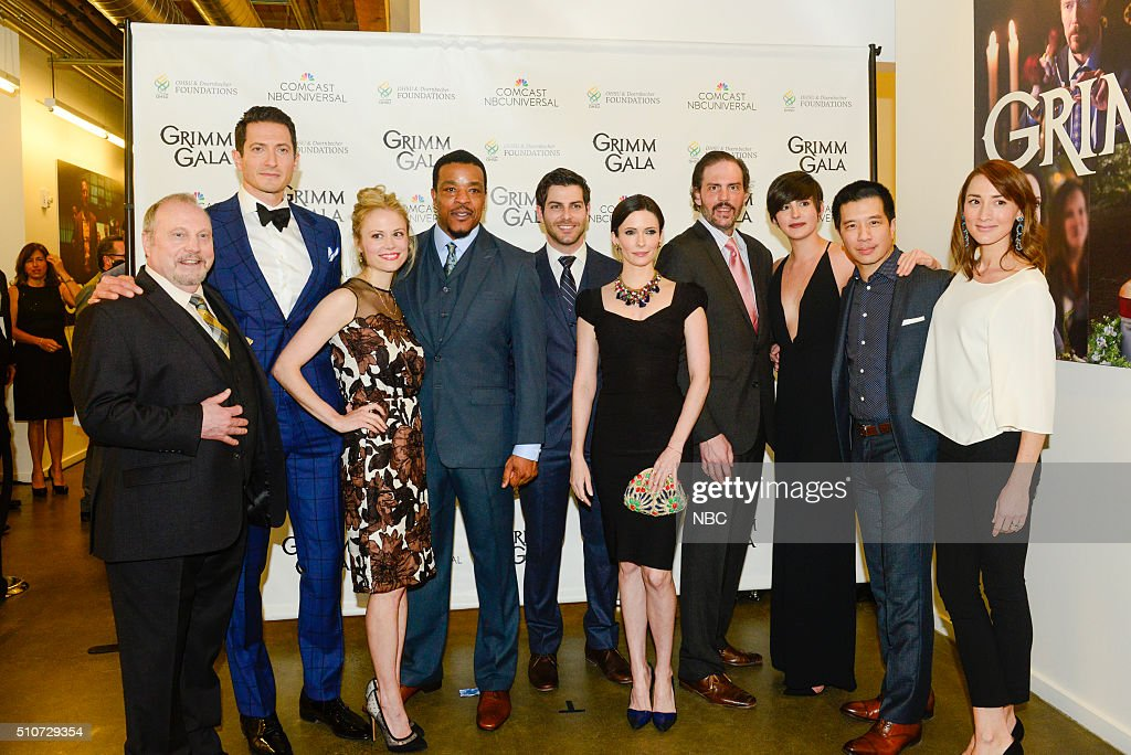 GRIMM -- 'Grimm Gala' -- Pictured: (l-r) Danny Bruno, <a gi-track='captionPersonalityLinkClicked' href=/galleries/search?phrase=Sasha+Roiz&family=editorial&specificpeople=6685510 ng-click='$event.stopPropagation()'>Sasha Roiz</a>, <a gi-track='captionPersonalityLinkClicked' href=/galleries/search?phrase=Claire+Coffee&family=editorial&specificpeople=5407090 ng-click='$event.stopPropagation()'>Claire Coffee</a>, <a gi-track='captionPersonalityLinkClicked' href=/galleries/search?phrase=Russell+Hornsby&family=editorial&specificpeople=546635 ng-click='$event.stopPropagation()'>Russell Hornsby</a>, <a gi-track='captionPersonalityLinkClicked' href=/galleries/search?phrase=David+Giuntoli&family=editorial&specificpeople=8011911 ng-click='$event.stopPropagation()'>David Giuntoli</a>, <a gi-track='captionPersonalityLinkClicked' href=/galleries/search?phrase=Bitsie+Tulloch&family=editorial&specificpeople=4616199 ng-click='$event.stopPropagation()'>Bitsie Tulloch</a>, <a gi-track='captionPersonalityLinkClicked' href=/galleries/search?phrase=Silas+Weir+Mitchell&family=editorial&specificpeople=4195871 ng-click='$event.stopPropagation()'>Silas Weir Mitchell</a>, <a gi-track='captionPersonalityLinkClicked' href=/galleries/search?phrase=Jacqueline+Toboni&family=editorial&specificpeople=12760361 ng-click='$event.stopPropagation()'>Jacqueline Toboni</a>, Reggie Lee, <a gi-track='captionPersonalityLinkClicked' href=/galleries/search?phrase=Bree+Turner&family=editorial&specificpeople=233811 ng-click='$event.stopPropagation()'>Bree Turner</a> --