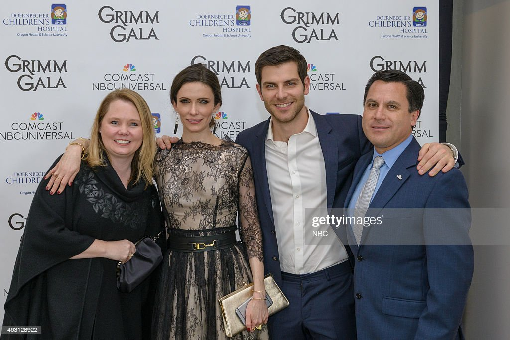 GRIMM -- 'Grimm Gala' -- Pictured: (l-r) Mary Cote; <a gi-track='captionPersonalityLinkClicked' href=/galleries/search?phrase=Bitsie+Tulloch&family=editorial&specificpeople=4616199 ng-click='$event.stopPropagation()'>Bitsie Tulloch</a>; <a gi-track='captionPersonalityLinkClicked' href=/galleries/search?phrase=David+Giuntoli&family=editorial&specificpeople=8011911 ng-click='$event.stopPropagation()'>David Giuntoli</a>; <a gi-track='captionPersonalityLinkClicked' href=/galleries/search?phrase=Rodrigo+Lopez&family=editorial&specificpeople=216384 ng-click='$event.stopPropagation()'>Rodrigo Lopez</a>, Regional Vice President, Comcast --