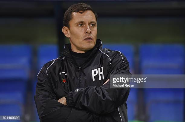 Grimsby manager Paul Hurst looks on during the The Emirates FA Cup Second Round Replay match between Shrewsbury Town and Grimsby Town at New Meadow...