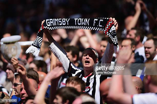 Grimsby Town fans show their support prior to the Vanarama Conference Playoff Final match between Grimsby Town and Bristol Rover at Wembley Stadium...