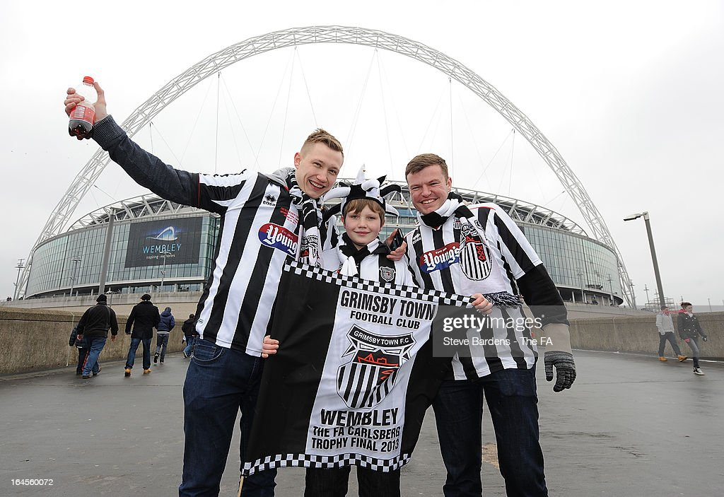 Grimsby Town supporters outside Wembley Stadium before the FA Trophy Final between Wrexham and Grimsby Town at Wembley Stadium on March 24, 2013 in London, England.
