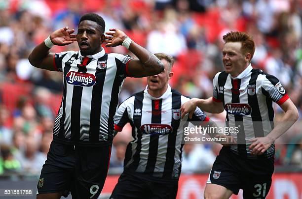 Grimsby's Omar Bogle celebrates after scoring his and the teams second goal of the game during the Vanarama Football Conference League Play Off Final...