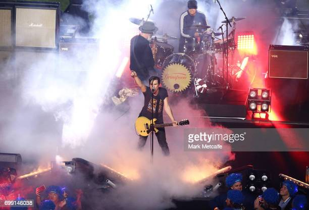 Grinspoon perform before game two of the State Of Origin series between the New South Wales Blues and the Queensland Maroons at ANZ Stadium on June...
