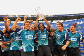 Griques players celebrate with the Trophy after winning the Vodacom Cup final match between Blue Bulls and GWK Griquas at Loftus Versfeld Stadium on...