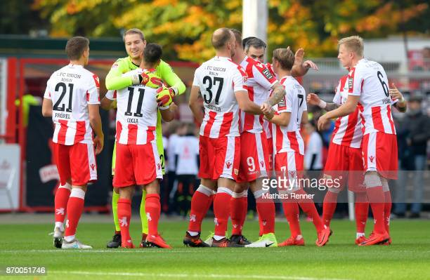 Grischa Proemel Akaki Gogia Jakob Busk Toni Leistner Marc Torrejon Simon Hedlund and Kristian Pedersen of 1 FC Union Berlin before the game between...