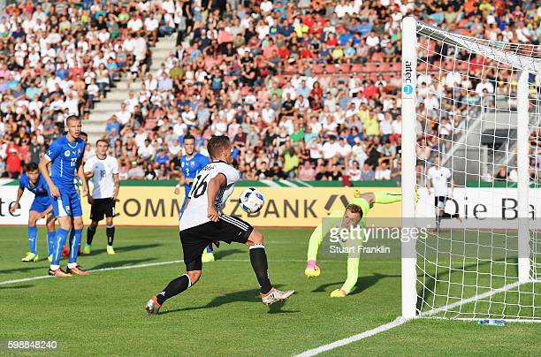 Grischa Proemel of Germany scores the first goal during the Under21 friendly match between U21 Germany and U21 Slovakia at Auestadion on September 2...