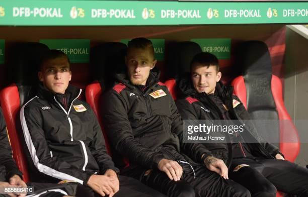 Grischa Proemel Sebastian Polter and Peter Kurzweg of 1 FC Union Berlin before the game between Bayer 04 Leverkusen and Union Berlin on october 24...