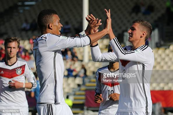 Grischa Proemial celebrates with Levin Oeztunali both of Germany after scoring a goal during the Group E Group E FIFA U20 World Cup New Zealand 2015...