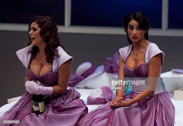 Griselda Contreras and Paola Nunez in action during the Cinco Mujeres Usando el Mismo Vestido presentation at Telon de Asfalto Theater on July 13...