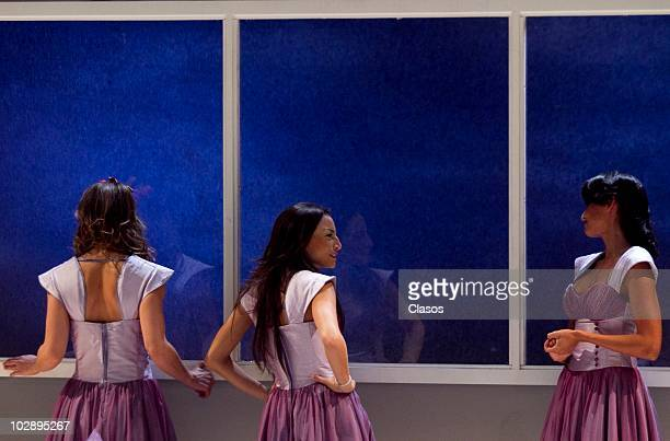Griselda Contreras Marimar Vega and Paola Nunez in action during the Cinco Mujeres Usando el Mismo Vestido presentation at Telon de Asfalto Theater...