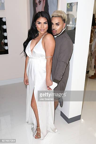 Griselda Martinez and Angel Merino attend the #VanityHeaven Flagship Store Grand Opening on December 3 2016 in Tustin California