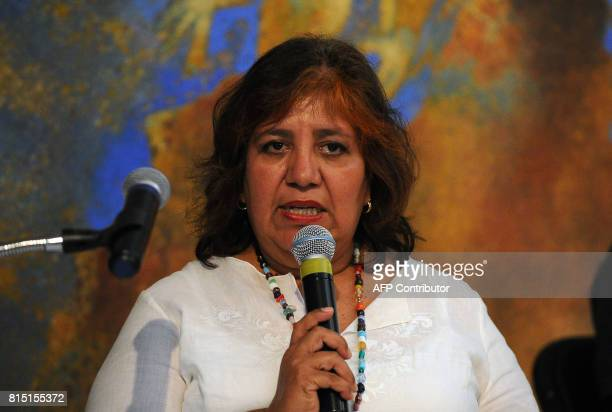 Griselda Triana de Valdez widow of Mexican Journalist Javier Valdez speaks during a tribute to his husband organized by colleagues relatives and...