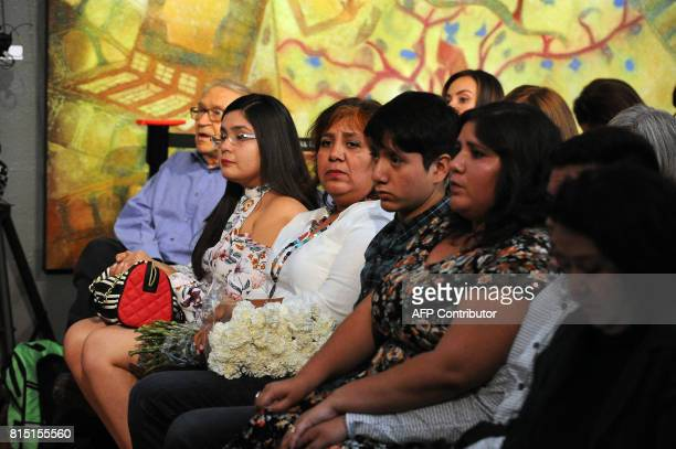 Griselda Triana de Valdez widow of slain Mexican Journalist Javier Valdez and other relatives attend a tribute to the reporter in Mexico City on July...