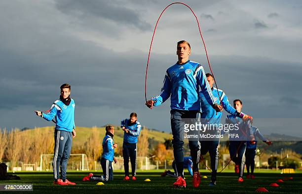 Grisha Promel of Germany U20's warms up during a Germany U20's training session at Garrett Park on May 30 2015 in Christchurch New Zealand