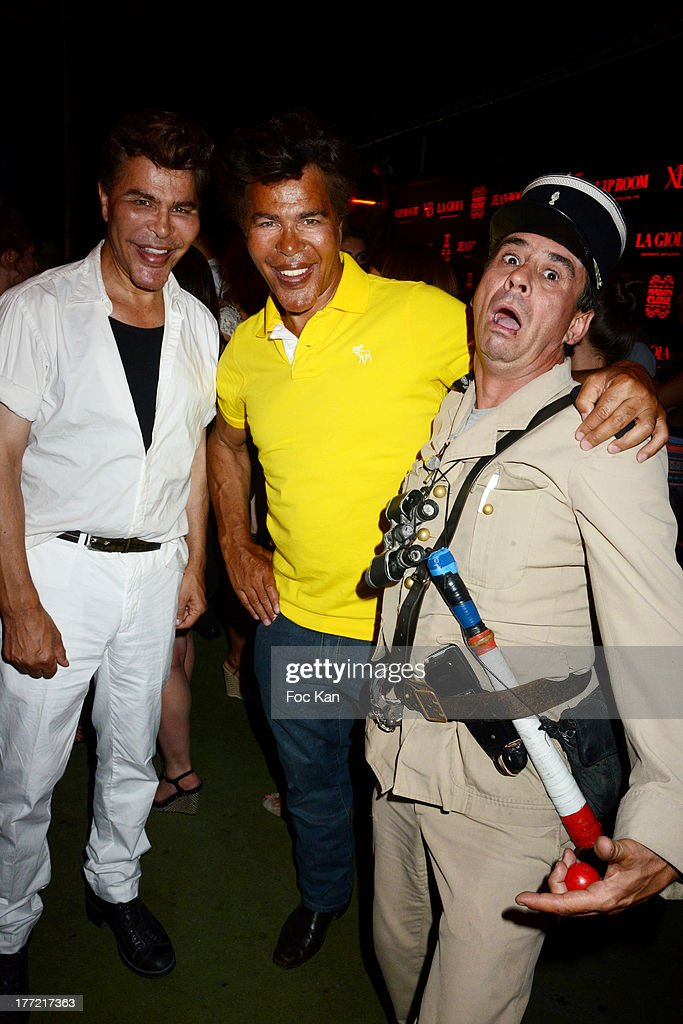 Grishka Bogdanov and Igor Bogdanov and fake gendarme de Saint Tropez humorist Patrick Chagnaud attend the ASAP Rocky Show Case and DJ Set at the VIP Room on August 21, 2013 in Saint Tropez, France.