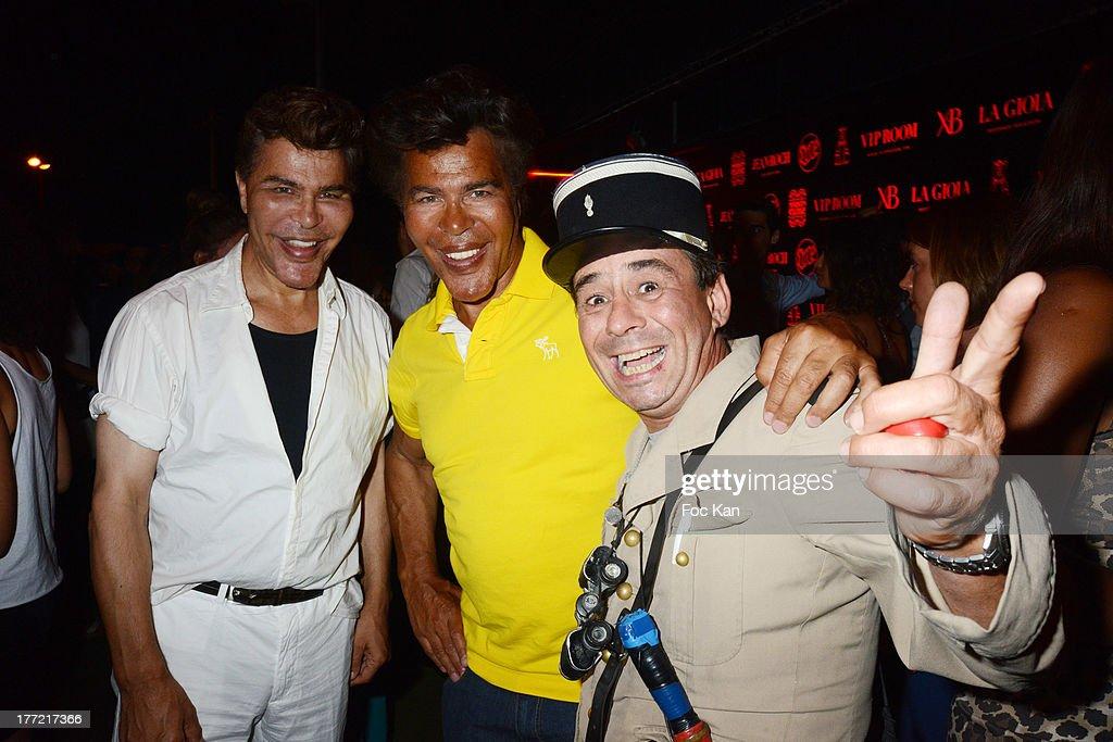 Grishka Bogdanov and Igor Bogdanov and fake gendarme de Saint Tropez humorist Patrick Chagnaud attend the ASAP Rocky Show Case and DJ Set at the VIP Room on August 21, 2013 in Saint Tropez, France.