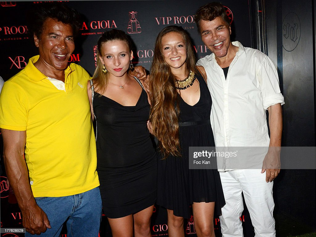 Grishka Bogdanov (4th), Igor Bogdanov (1st) and admirers attend the VIP Room on August 24, 2013 in Saint Tropez, France.